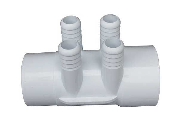 "2"" Street x 2"" Slip x (4) 3/4""  Barb Style Plastic  Water Manifold For Home Spas"